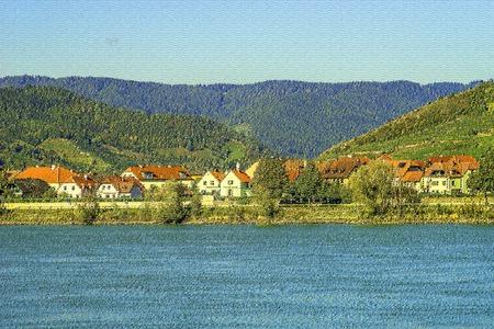 Landschaftsaufnahme von Loiben in der Wachau als Aquarell ausgearbeitet