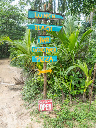 Handpainted signs for beach bar(pizza), caribbean. Jungle background