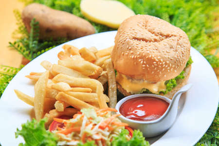 Beef burger serve with  french fried and salad Delicious burger with beef, tomato and cheese and lettuce Cheese burger Australian tenderlion