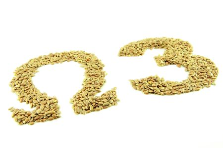 Omega 3 text, brown linseed photo