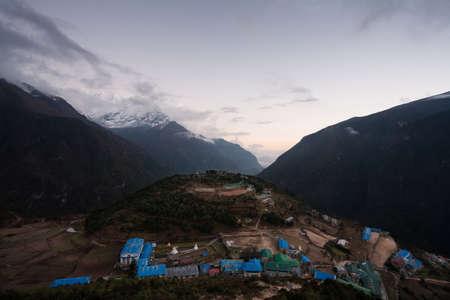 sherpa: Evening view to sherpa capital Namche Bazar, Nepal