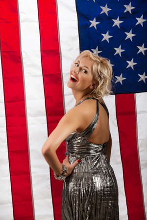 attractiveness: Young blonde woman and american flag Stock Photo