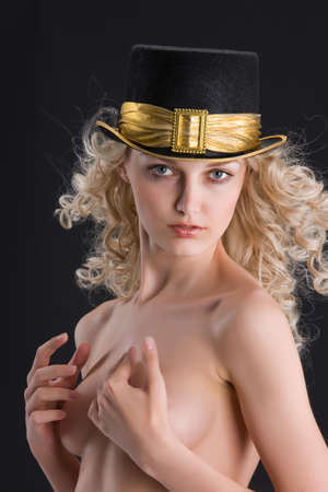 nude blonde woman: Young Nude blonde woman in a hat with golden band