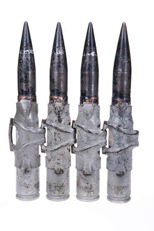 caliber: Cartridges for big caliber machinegun on isolated background