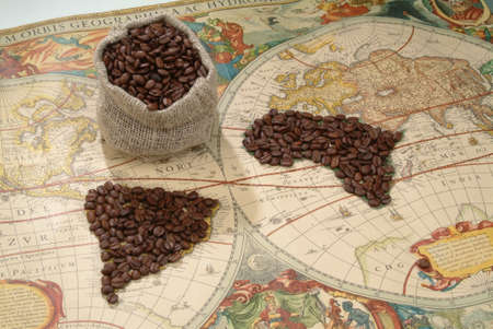 old world: Coffee beans on an old world map