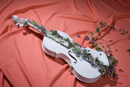 classics: White decorative violin and flower composition Stock Photo