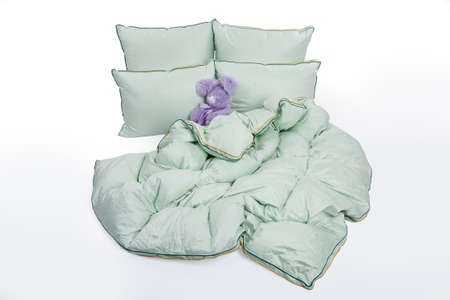 Isolated down pillows and blanket Stock fotó