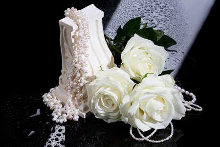 wedding ring: Beads, pearls, jewelry Stock Photo