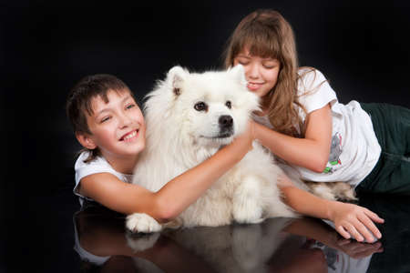 teenaged girl: Teenaged girl and boy with a white Samoyed dog in the studio Stock Photo