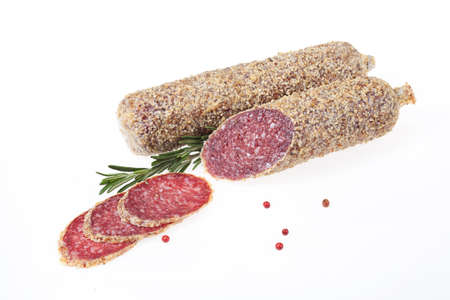 greenery: Sausage with greenery on isolated background