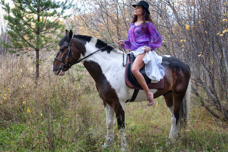 woman horse: Young woman and horse in a forest
