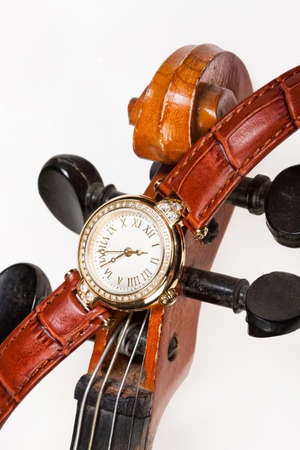 dial plate: Wristwatch with leather belt on isolated background