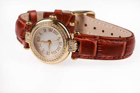 leather belt: Wristwatch with leather belt on isolated background