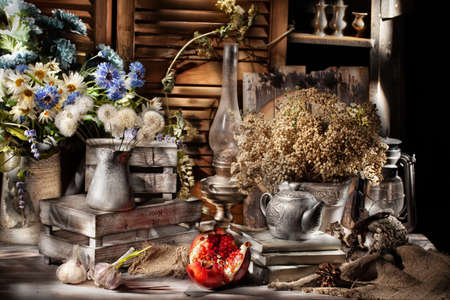 Still life with old accessories in rural style