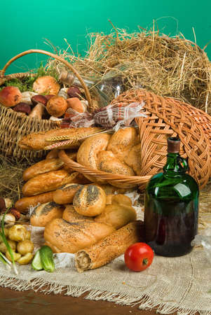 Different kinds of bread on a studio background