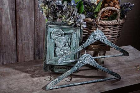 Handmade works on a wooden studio background