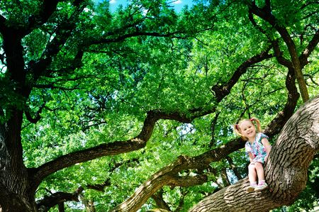 Cute toddler girl sitting on branch huge tree and smiling photo