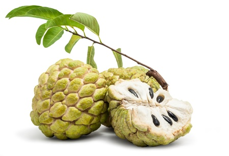 custard apple: Fresh Custard Apple Isolated in White Background Stock Photo