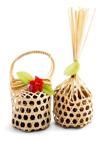 wickerwork: Bamboo Wickerwork Packaging Isolate in White Background