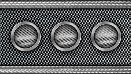 The Modern Steel Speaker on Metal Background photo