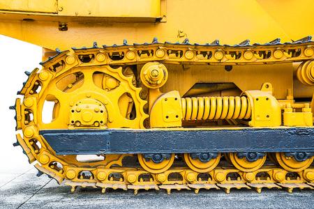 노란색 무거운 불도저의 근접 촬영 스톡 콘텐츠