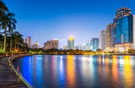 Night scene cityscape in the Bangkok metropolis photo