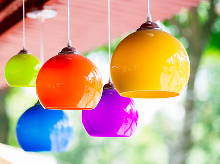 The colorful hanging ceramic lamp for decorate Stock Photo - 27748631