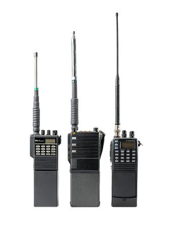 Portable radio communication set isolated on white
