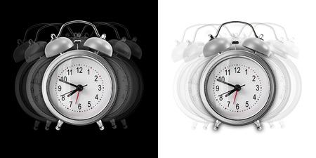 vibran: Metal despertador Vibrar aislado en fondo blanco y negro