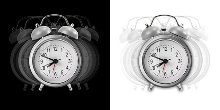 resonate: Vibrate metal alarm clock isolated on black and white background