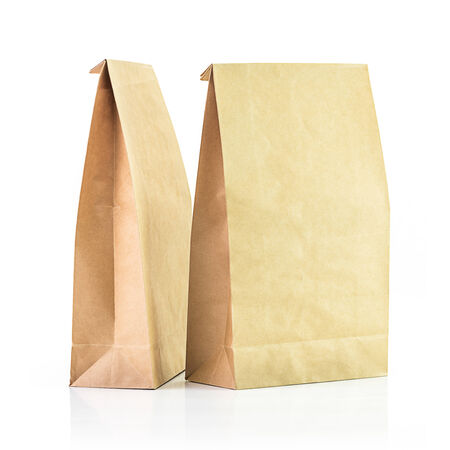 Brown paper bag isolated on white background Stockfoto