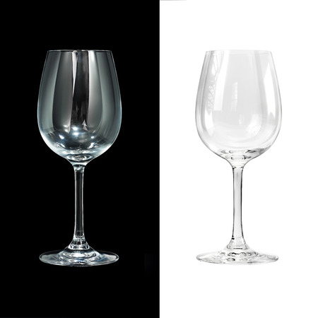 crystal glassware empty wine glass isolated on black and white