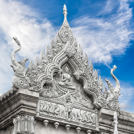 ecclesiastical: Sculpture of temple on blue sky