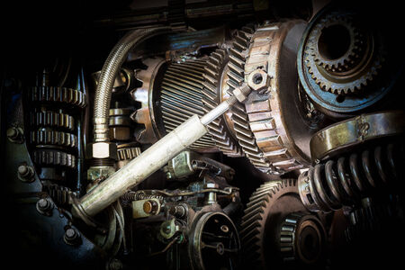 camshaft: Grunge and rusty machine in dark tone