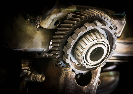 Grunge and rusty machine in dark tone