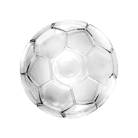 Glass soccer ball isolated on white background