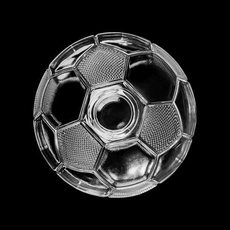 transparence: Glass soccer ball isolated on black background