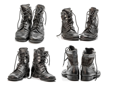 combat boots: Old combat boots group isolated on white background