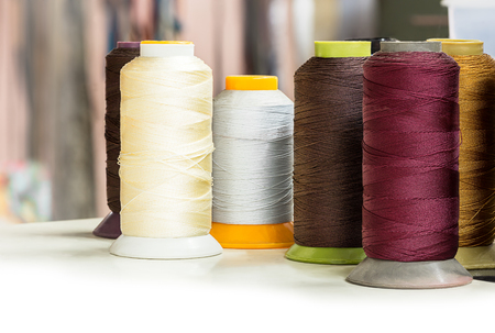 textile industry: Several bobbins of thread for textile industry