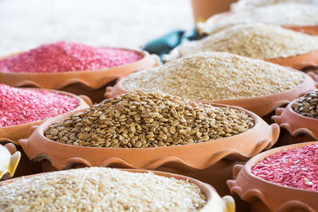 earthenware: Heap of many seed in the earthenware at farmer market Stock Photo