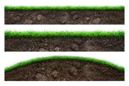 Set of soil and green grass isolated on white