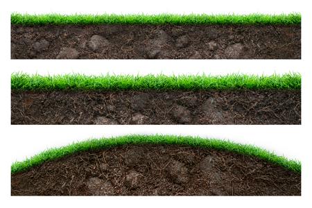 terreno: Set di terreno e di erba verde isolato su bianco Archivio Fotografico