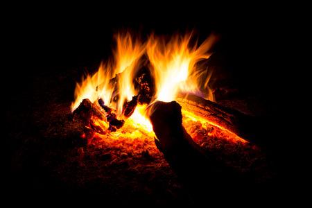 blaze: Blaze of catching bonfire on black background Stock Photo