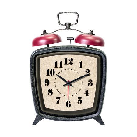 resonate: Vintage alarm clock isolated on white background