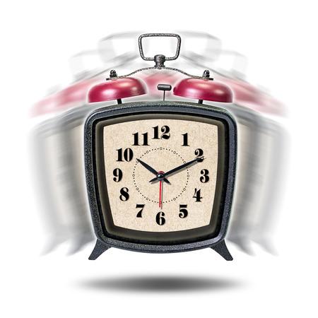 resonate: Vibrate vintage alarm clock isolated on white background