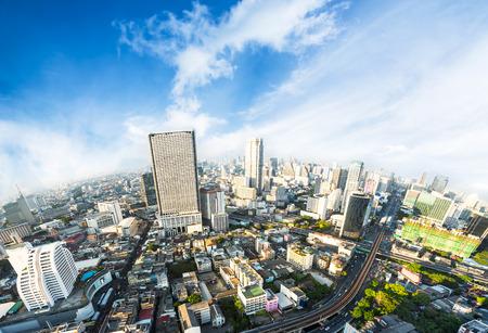 metropolis: Beautiful Bangkok metropolis skyline with urban skyscraper on blue sky background Stock Photo