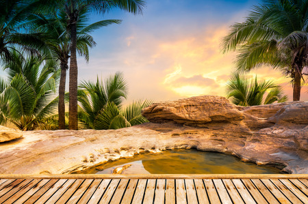 stones in water: Open air hot spring spa on natural background in sunset time Stock Photo
