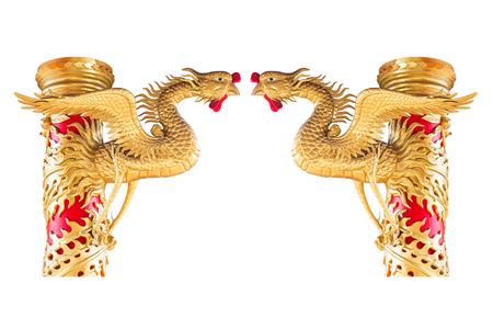 chinese phoenix: Chinese phoenix statue on pillar isolated on white background Stock Photo