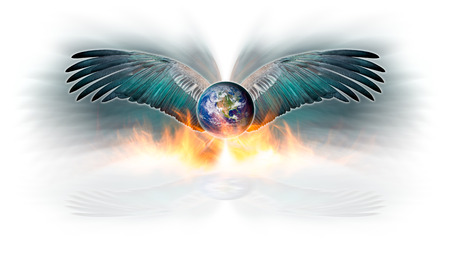 doomsday: The earth and spread out bird wing in the act of flying escape fire blaze,