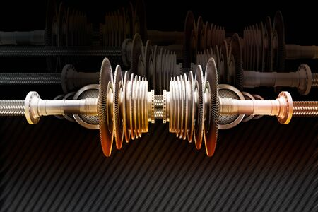 camshaft: Modern steel cog and propeller machine on black background